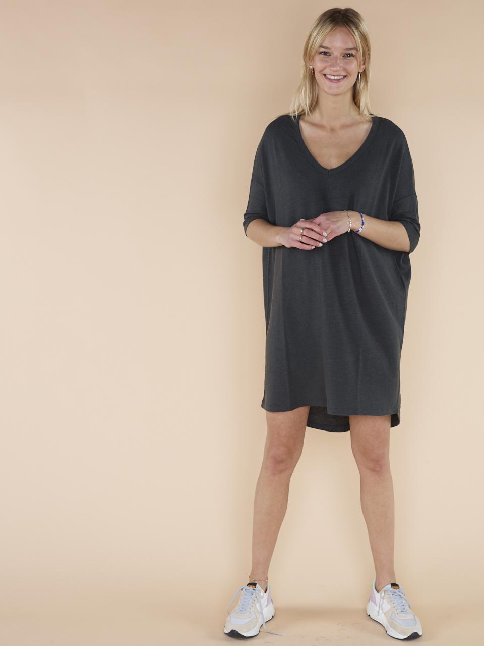 DRESS V-NECK LINEN