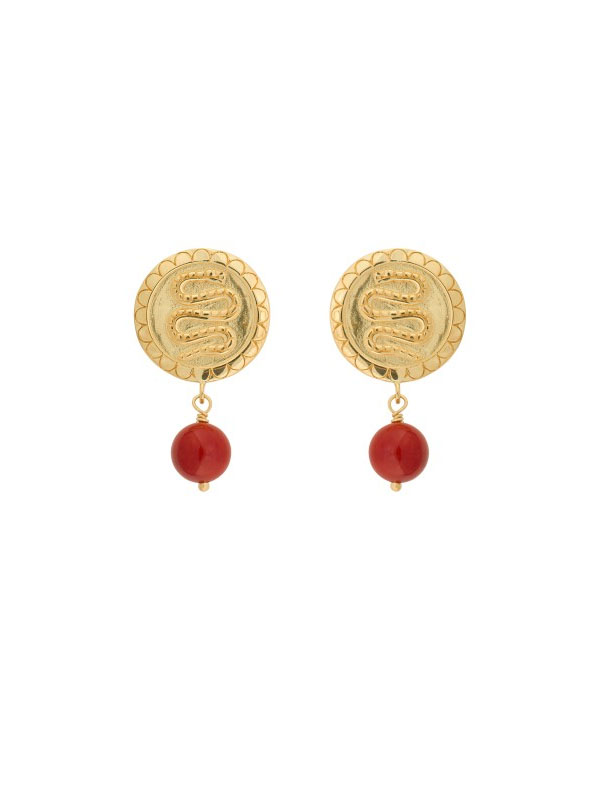 EARRING CORAL SERPENT