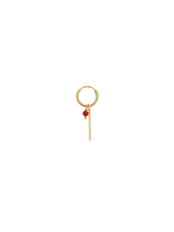 EARRING SINGLE CORAL CHAIN RING